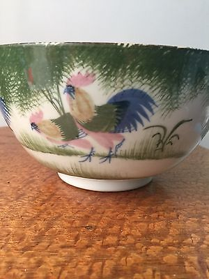 Antique Chinese Famille Rose Roosters Decor Bowl Rare!!!