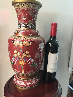 Vintage Large Chinese Cloisonne Vase with Fish & Flower