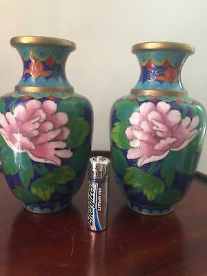 A Pair of Chinese Cloisonne Bird & Flower Vases