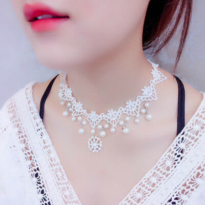 Collares Sexy White Pearl Lace Choker Necklace Vintage Wedding Jewelry Beatiful