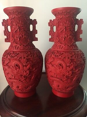 A Pair of Chinese Cinnabar Vases with Carved Dragon and Floral