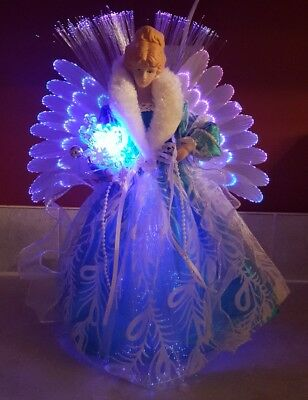 Fiber Optic Angel Christmas Tree Topper Color Changing Table Topper Blue NEW