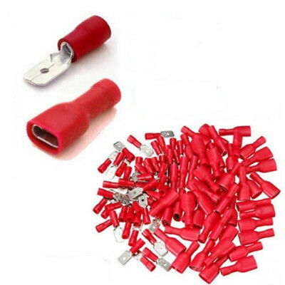 50/100pcs Fully Female&Male Spade Terminals Crimp Connector Red 22-16AWG