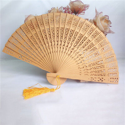 1Pc Hot Sale Hand Fan Carving Wood Bamboo Hollow Crafts DIY Vintage Floral Print