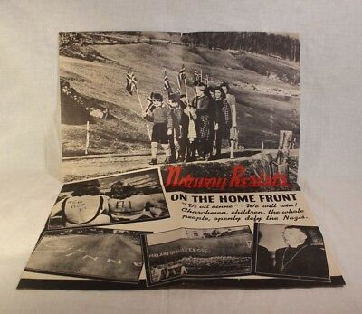 Original World War 2 Poster Norway Resists on The Home Front Openly Defy Nazis