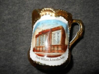 VINTAGE small SOUVENIR gold PICTURE CUP OF LINCOLN,NEBRASKA POST OFFICE*Germany