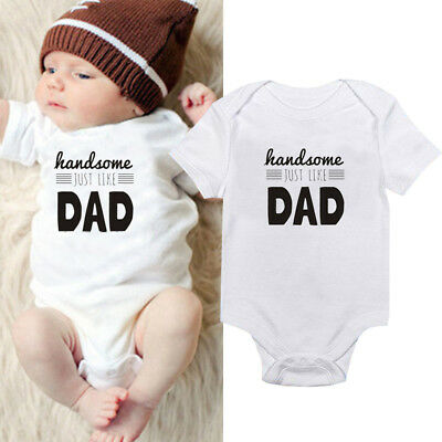 Clothes Baby Boy Letters Romper HANDSOME DAD White Bodysuit Cotton Jumpsuit