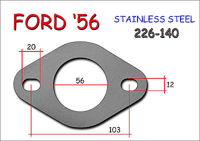 STAINLESS STEEL UNIVERSAL EXHAUST FLANGE 56mm - Thickness 8mm FORD Type