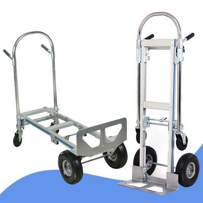 2 in 1 Aluminum Hand Truck 770LBS Luggage Foldable 2 Wheel Dolly 4 Wheel Cart