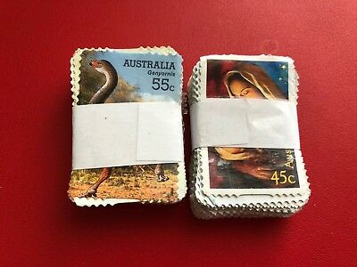 Australia Stamps Unfranked No Mint No Gum 55c x100 + 45c x100 Face Value $100