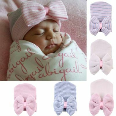 Baby Girl Infant Colorful Striped Cap Hospital Newborn Soft Beanie Hats with Bow