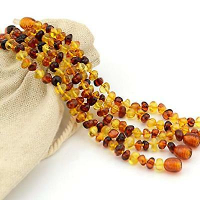 Natural Teething Necklace Amber Baby Anti Pain Reducing Unisex Multi Color