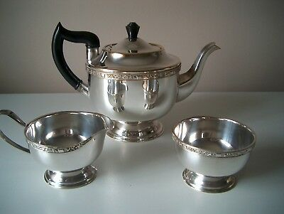 Art Deco Vintage Alpha Plated Viners of Sheffield Teapot Milk and Sugar Bowls