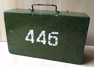 Vintage Collectible WWII Wooden Military Equipment Box Chest 445 Green USSR