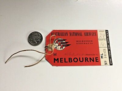 TAA ANA Ansett Melbourne Baggage Label 1950s Early Australia Aviation