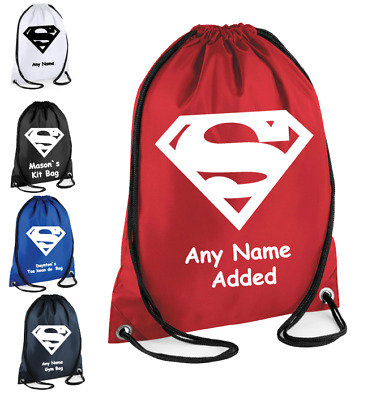 PERSONALISED Drawstring Gym Bag SUPERMAN School PE Kit Sport Girls Boys