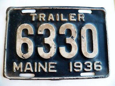 "RARE Antique MAINE TRAILER License Plate 1936 #6330 Great Condition 6"" x 9"""