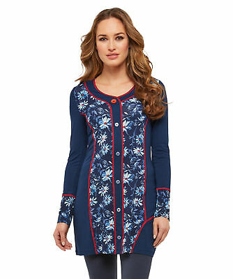 Joe Browns Womens Button Down Floral Tunic in Daisy Print Navy Multi A 18