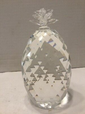 """Oleg Cassini 5"""" Pineapple Crystal Paperweight with Box"""