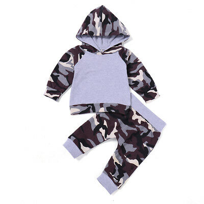 EG_ Baby Boys Camouflage Hoodie Long Sleeve Hooded Top Long Pants Casual Outfit