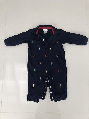 Ralph Lauren Baby Boy Navy Long Sleeve Jumpsuit 6 Months