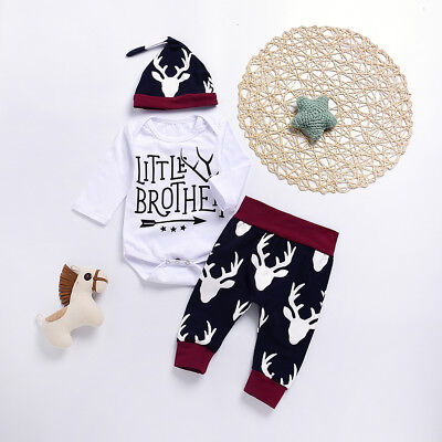 EG_ Baby Boys Infant Long Sleeve Letters Romper Deer Head Pants Hat Outfits Sple
