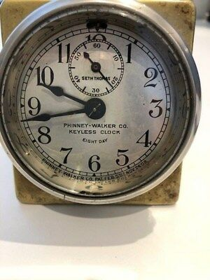 Phinney-Walker Keyless Clock eight day. Brass turn of the century Seth Thomas