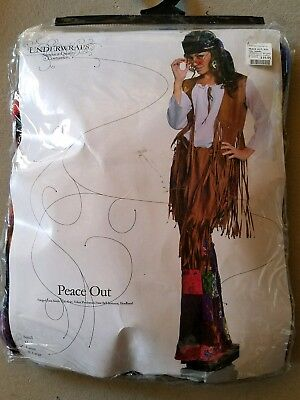 H NEW Adult Underwraps Peace Out 60s 70s Hippy Halloween Costume Size L