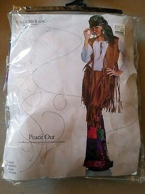 H NEW Adult Underwraps Peace Out 60s 70s Hippy Halloween Costume Size M