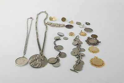 20 x vintage COIN JEWELLERY inc. Enamelled Coins, Cut out Coin Bracelet