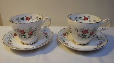 Fine Bone China Duos Tea Cup & Saucer Gilt Floral Roses & Forget Me Nots