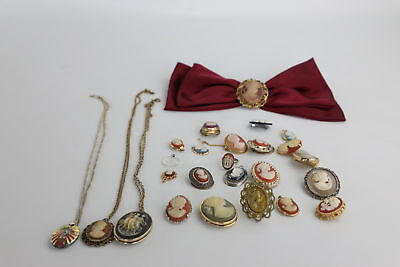 25 pieces of VINTAGE CAMEO JEWELLERY inc. Pendants, Necklaces, Brooches, Rings