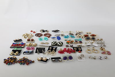 50 x Vintage Mixed Costume Earrings Inc Clip-On & Pierced, Floral & Ornate