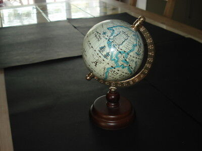 VINTAGE/RETRO SPINNING GLOBE on Brass and Wooden Stand Ancient Maps Decorative