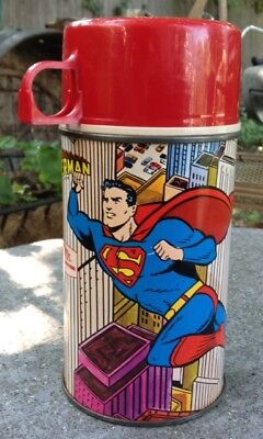 """1967 THERMOS """"Superman"""" Glass lined Lunchbox thermos exc/near mint DC comics"""