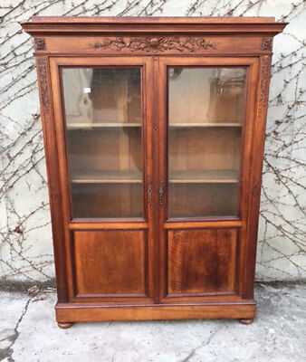 Two door Bookcase in Walnut with Frieze - Restored