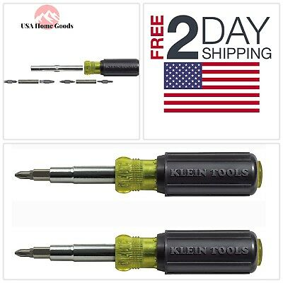 (2-Pack) KLEIN 11-in-1 Screwdriver Nut Driver 8 Tips Bits Cushion Grip Hand Tool
