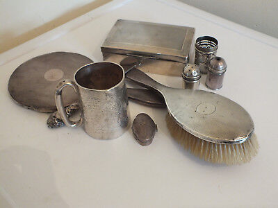 Job Lot of Antique Victorian & Later Solid Silver Collectibles - Scrap / Repair