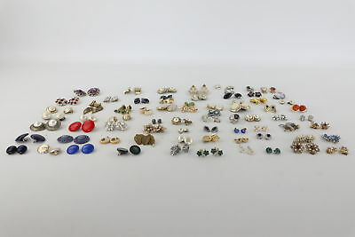 70 x Vintage Mixed Costume Earrings Inc Clip-On & Pierced, Floral & Ornate
