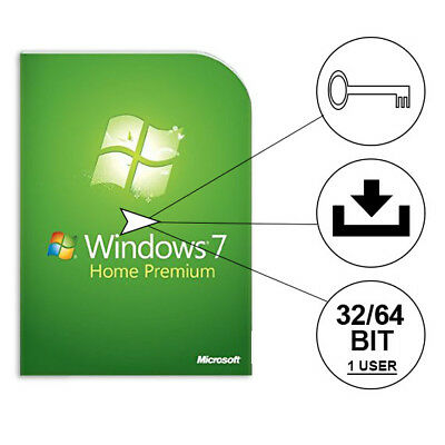 Windows 7 Home Premium Vollversion ✔ 32 + 64 Bit Microsoft Win ESD Lizenz NEU