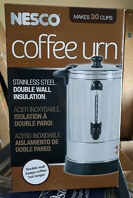 Nesco 30 Cup Coffee Urn Stainless Steel Double Wall Insulation