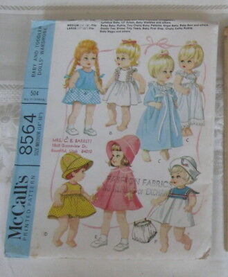 Vintage Doll Dress Tiny Tears Chatty Baby McCall's 8564 Sewing Pattern Uncut