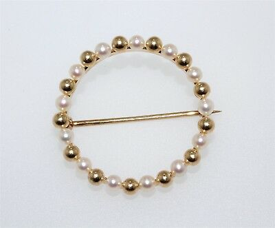 Vintage 14K Yellow Gold 3mm Pearl & Gold Bead Circle Pin Brooch