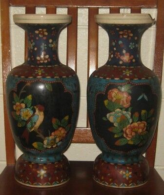 Antique Japanese Meiji Cloisonne Earthenware Vases - Signed Yasuda - 1870 - Rare