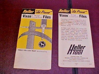 2 Vintage Heller Brothers Tool Vixen Nucut Files Newcomerstown Ohio Note Pads