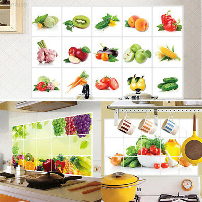 Wall Stickers Kitchen Fruits Decal Sticker Proof Wall Tile Home Grapes Art