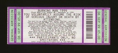 1999 Burning Man UNUSED Ticket Mint Condition Survival Guide & BM Journal