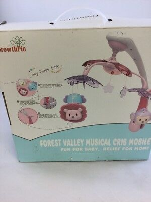 NWT GrowthPic Forest Valley Musical Crib Mobile, Pink (KF)