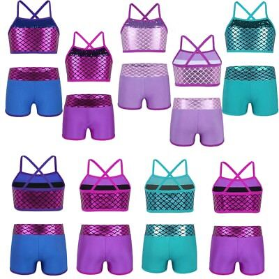 Girls Kids 2-Piece Active Set Dance Sport Outfits Tops+Booty Short Gym Clothes