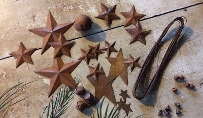 33pc Sample Lot Rusty Metal Barn Stars Jingle Bells Wire Country Craft Supplies